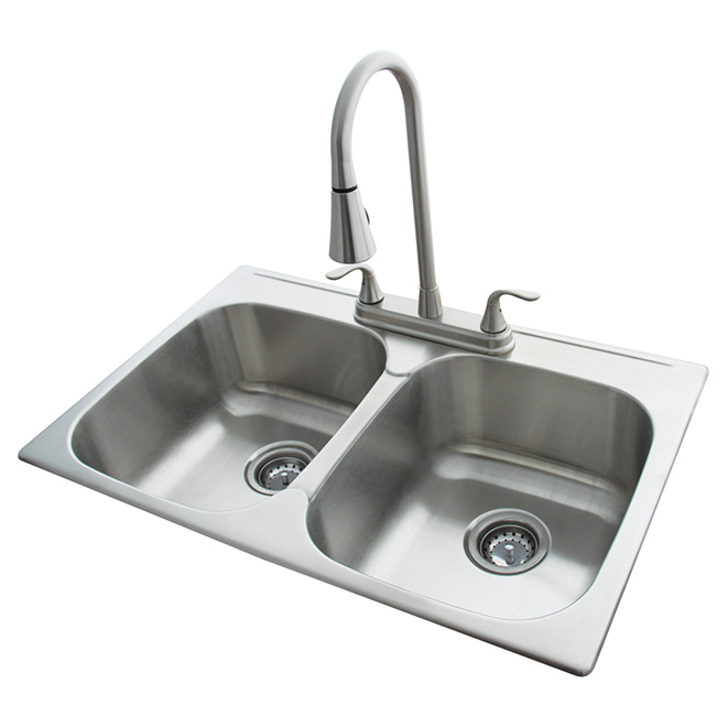 Nice Double Kitchen Sink With Faucet Part 27