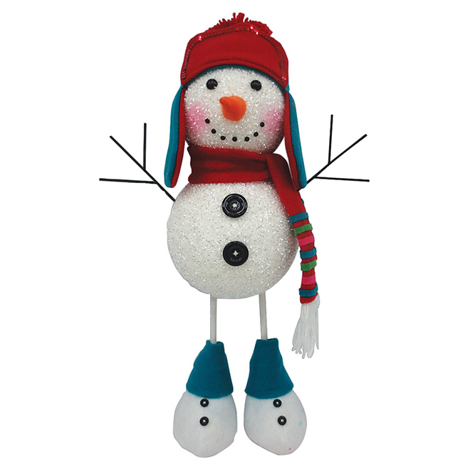 Snowman Figurine - Resin and Foam - Blue/White/Red - 20""