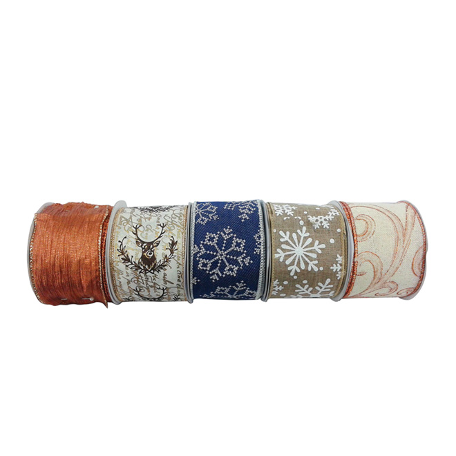 Decorative Ribbon - 30' - White/Copper