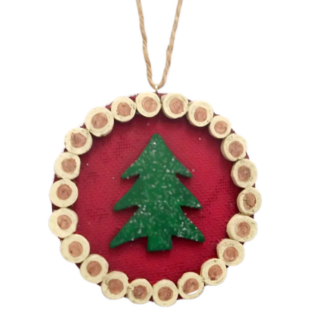 Tree Log Ornament - Red/Green - 3-Piece Set