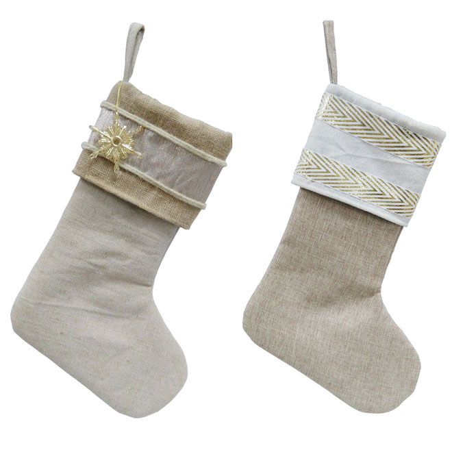 "Christmas Stockings - 19"" - Gold/White - 2 Pack"