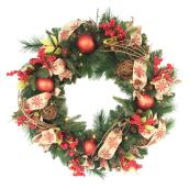 Battery-Operated Lighted Decorated Artificial Wreath - 30