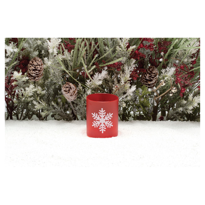 Snowflake Flameless Candle - Red