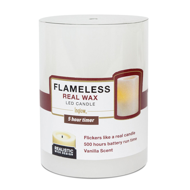 Vanilla Flameless Candle with Timer - White