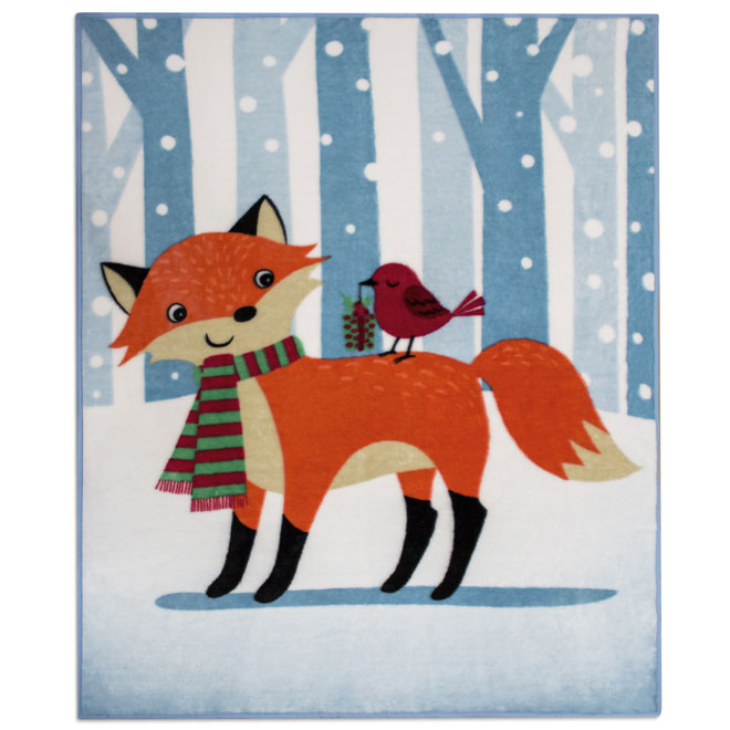 "Christmas Throw Blanket - Polyester - Fox - 48"" x 60"""