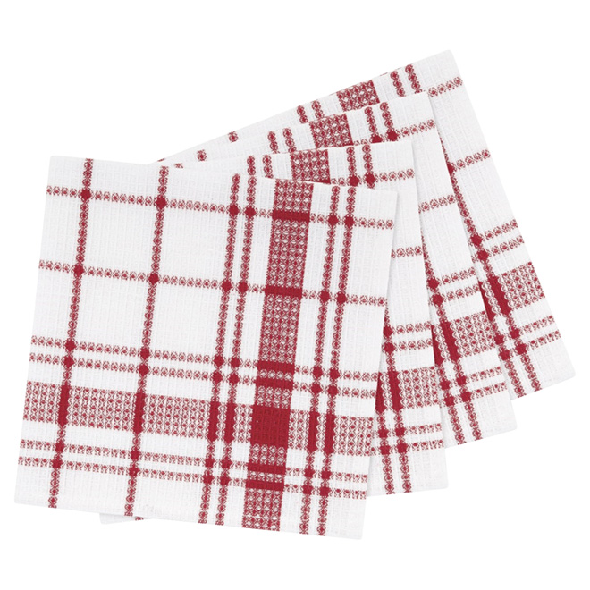 "Cotton Dishcloths - 14"" x 14"" - Pack of 4 - Red Plaid"