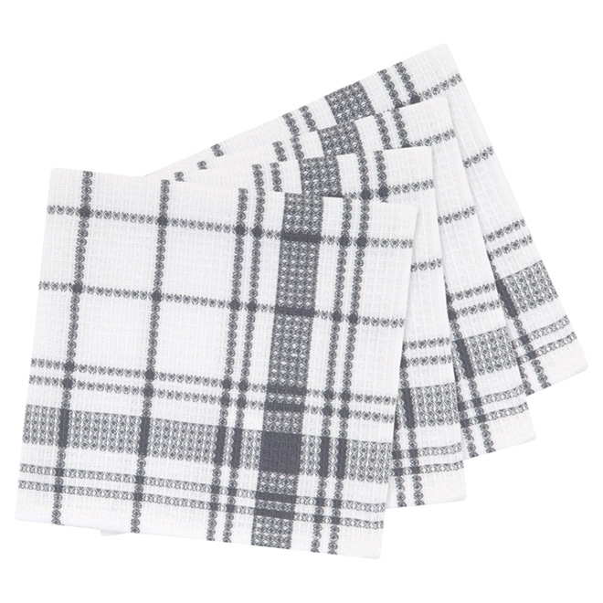 "Cotton Dishcloths - 14"" x 14"" - Pack of 4 - Charcoal Plaid"