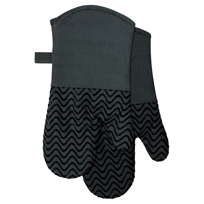 "Silicone/Cotton Oven Mitts - 7 x 13"" - Black"