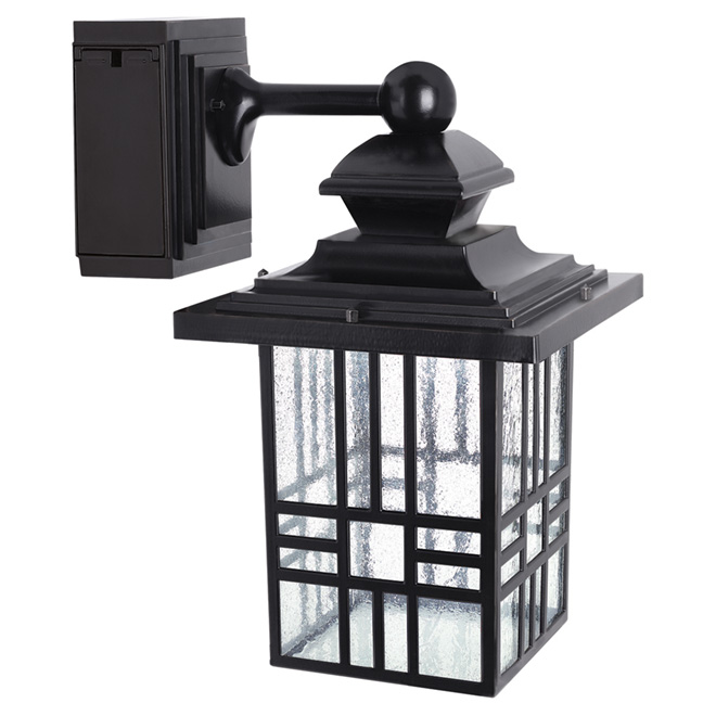 LED Wall Lantern with GFCI Outlet