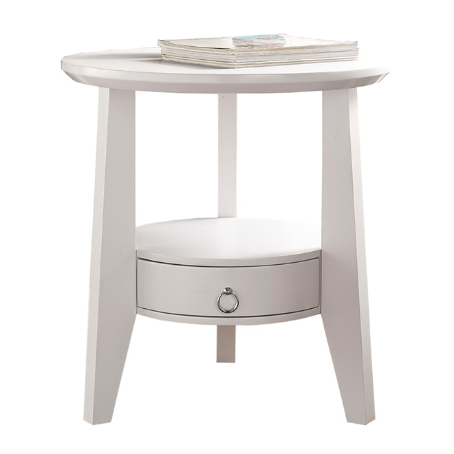 Table - 1-Drawer Accent Table - White