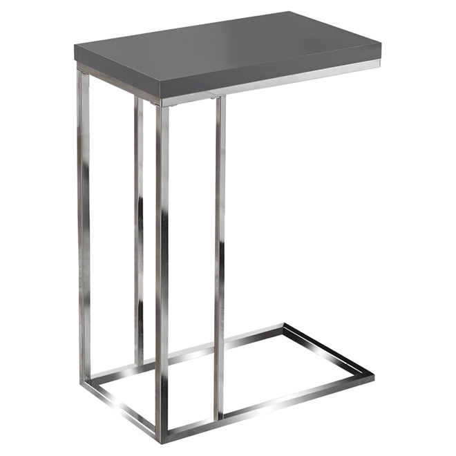 Table d 39 appoint au fini chrom grise rona for Table d appoint pour lit