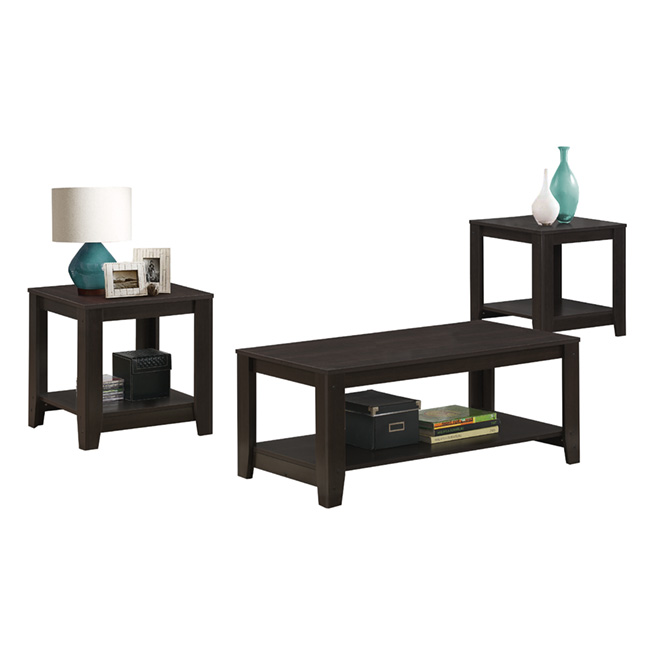 Coffee Table with End Tables Set - Cappuccino