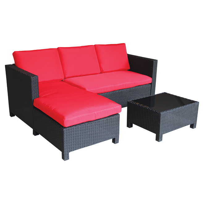 Patio sectional sofa set red black 3 pieces rona - Chaise rouge pas cher ...
