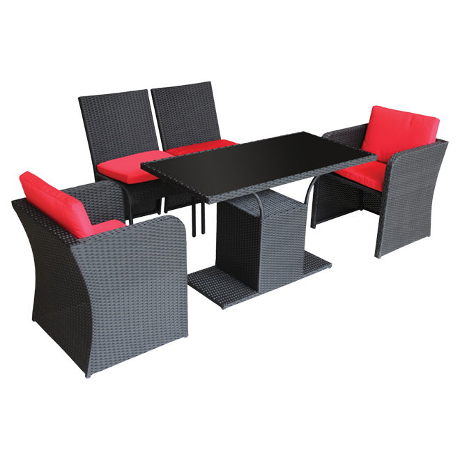 Bistro Set - Black/Red - 5 Pieces