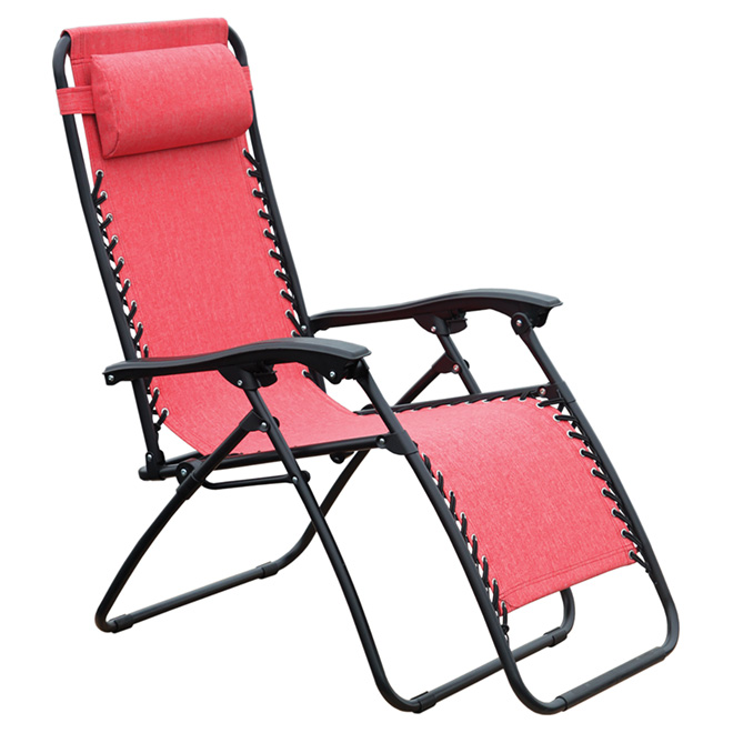 Relax patio lounge chair 44 1 red rona for Chaise de patio
