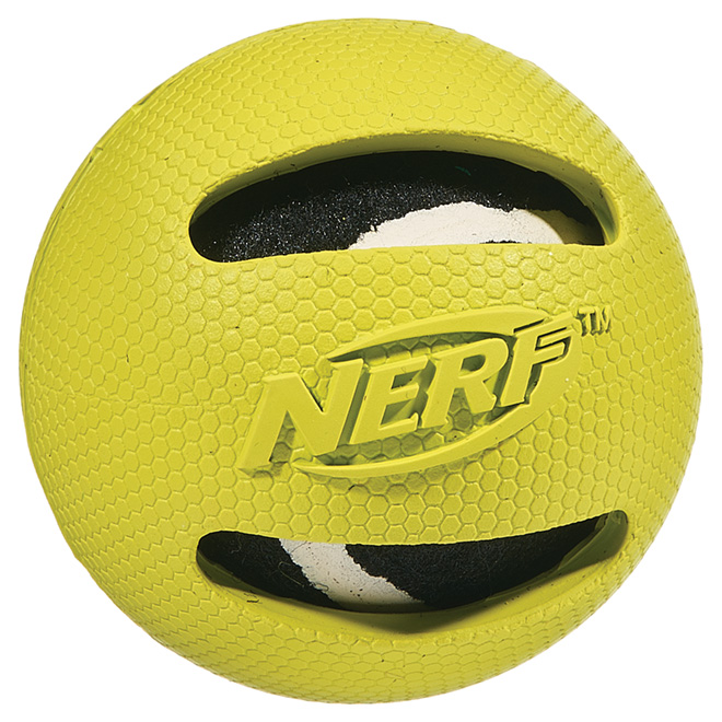 Rubber-Protected Tennis Ball Dog Toy - 3""