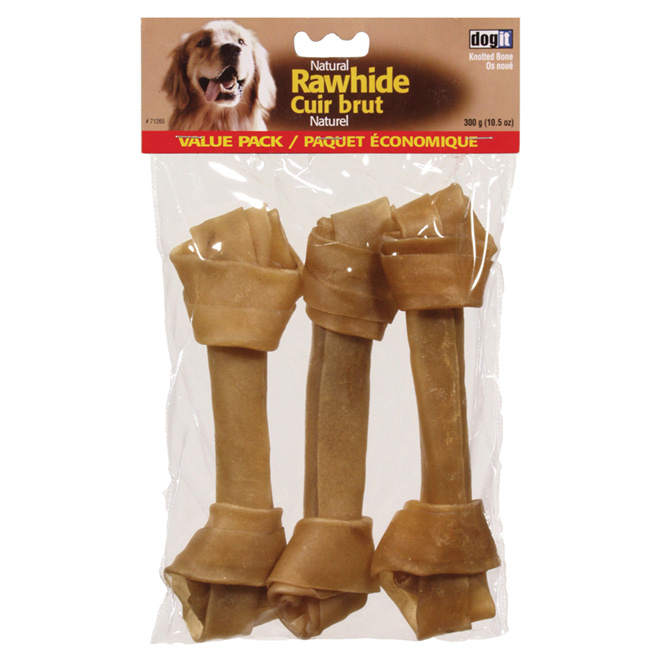 "Rawhide Knotted Bones - 8""-9"" - 3-Pack"