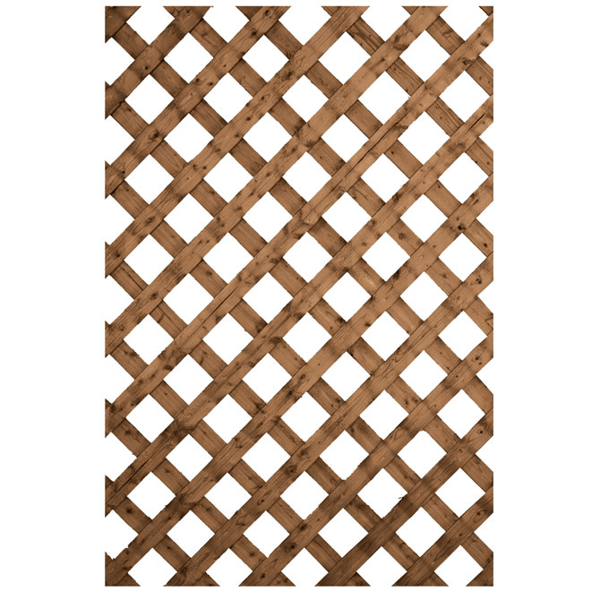 Traditional Treated Wood Lattice - Brown - 4' x 8'