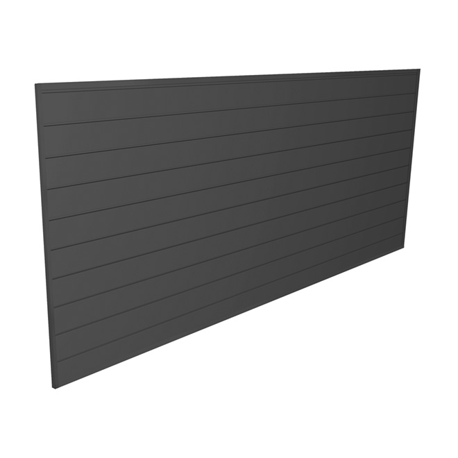 "PVC Storage Slat Wall 4' x 8' x 0.6"" - Charcoal"