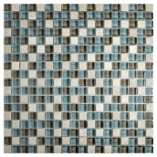 Glass Mosaic Wall Tile - Blue/Beige - Box of 10