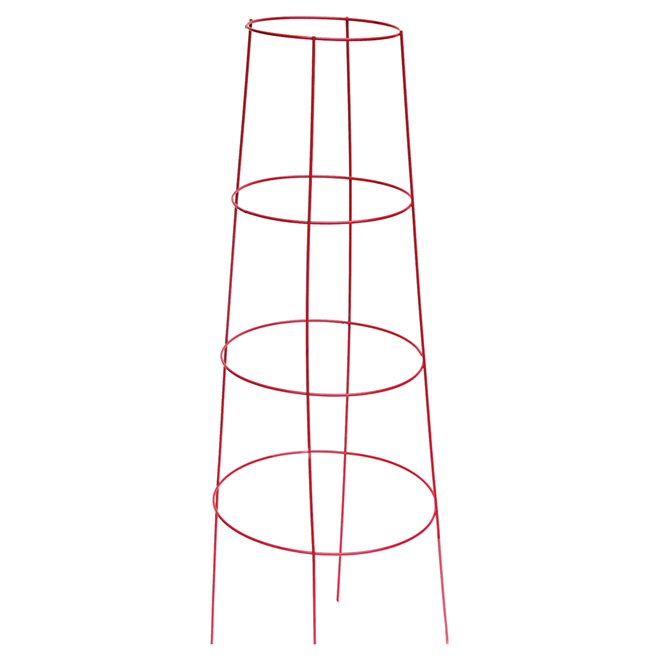 "Round Plastic Inverted Tomato Cage 48"" - Red"