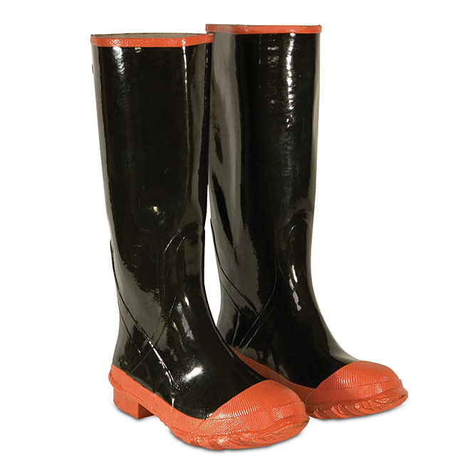 Waterproof Black Rubber Knee Boot with Plain Toe