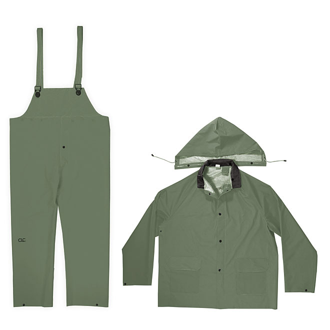 PVC Rain Suit - 3 Pieces - Green - Medium