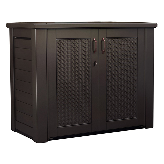 Patio chic storage cabinet by rubbermaid rona - Armoire de rangement exterieur castorama ...