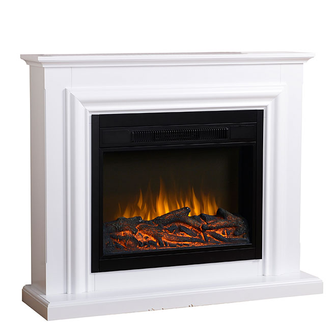 25-in width firebox. Dual heat settings: 750 W / 1500 W (120 V). Heats up to 400 sq ft (4500 BTU). Hidden manual control switch with thermostat contr...