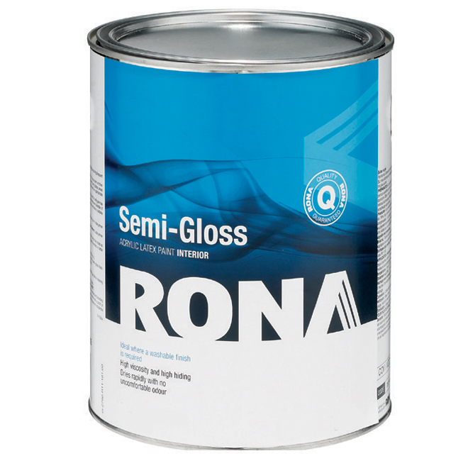 Paint quotsemi gloss finishquot interior acrylic latex rona for Latex paint in bathroom