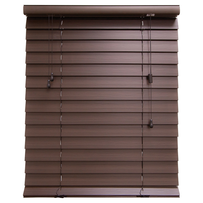 "Horizontal Faux Wood Blind - Espresso - 18"" x 48"""
