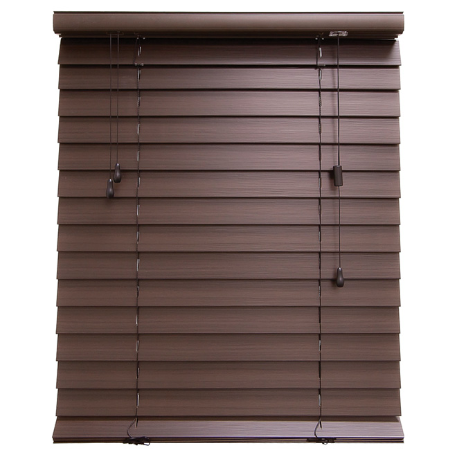 "Horizontal Faux Wood Blind - Espresso - 24"" x 48"""