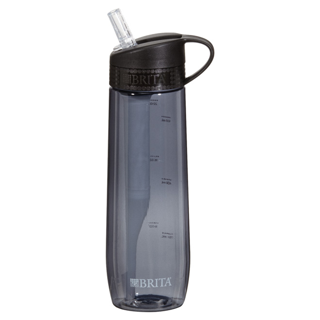 Hard-Sided Water Bottle with Filter - 700 ml - Black