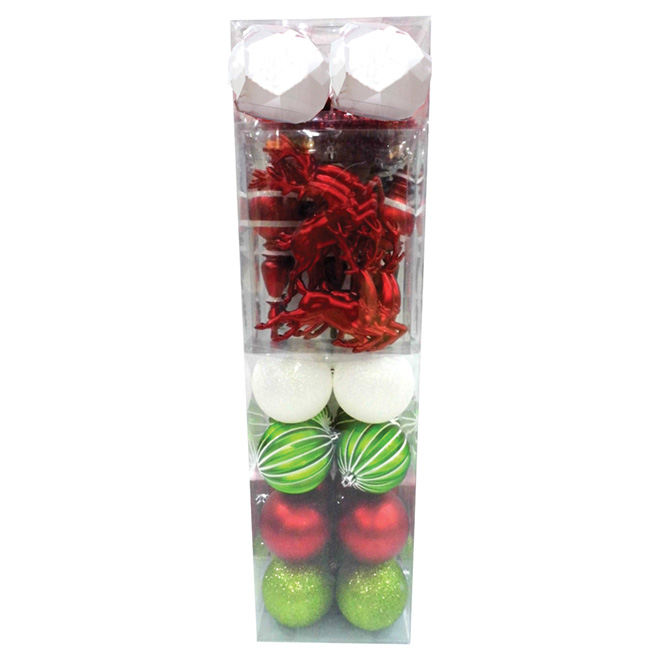 Tree Ornament - Red/Green/Black - 34-Piece Set