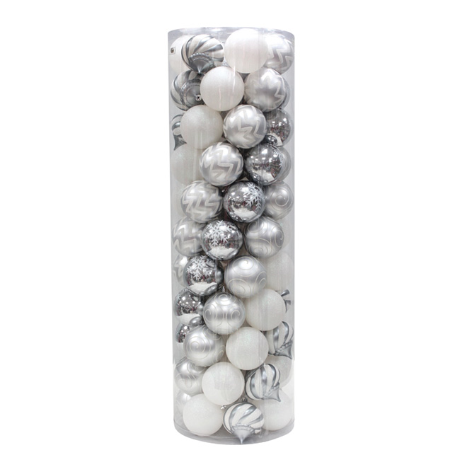 Ball Ornament - Silver - 75-Piece Set