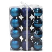 Christmas Balls - Dark Blue - 24-Piece Set