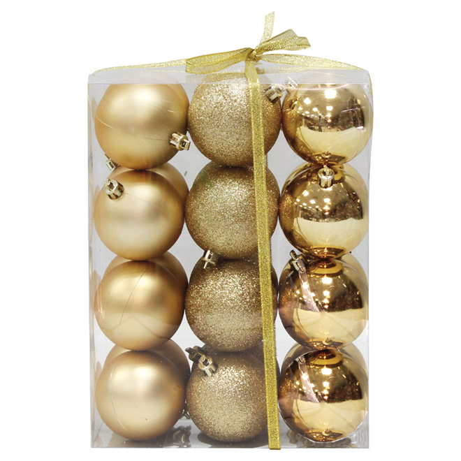 Ball Ornament - Gold - 24-Piece Set