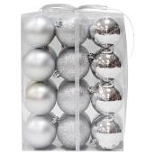 Christmas Ball Ornament - Silver - 24-Piece Set