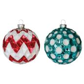 Glass Ball Ornament - Red/Turquoise - 2-Piece Set
