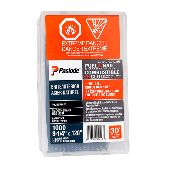 """Quicklode(TM)"" Framing Fuel and Nail Pack- 3 1/4"""