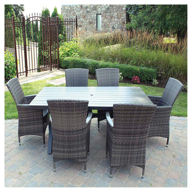 Dining Set - 7 Pieces - Charcoal Grey