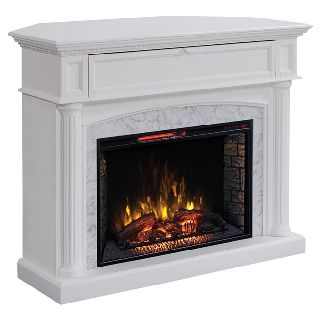 With its white finish and real Carrara marble surround