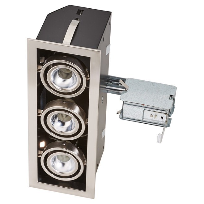 "Triple Recessed Cube - 4 1/2"" - Brushed Chrome"