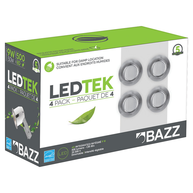 "LEDTEK Recessed Lighting Kit - 3 3/8"" - Brushed Steel"