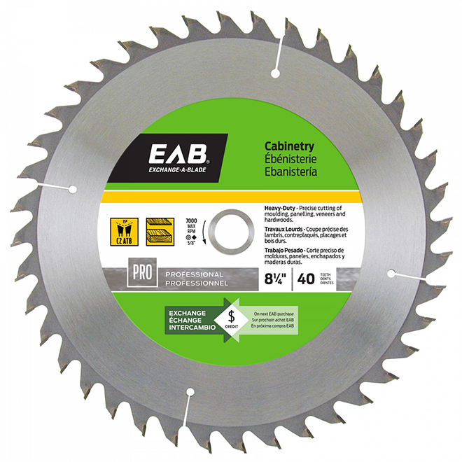 """Cabinetry"" Saw Carbide Blade - 8 1/4"" - 40TH"