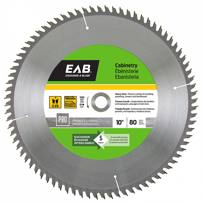 "Cabinetry Circular Saw Carbide Blade- 10"" - 80TH"