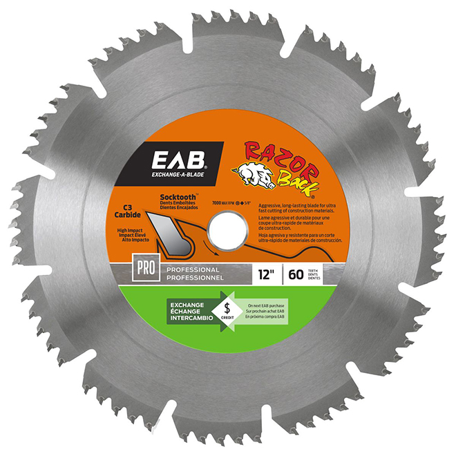 """Razor Back"" Circular Saw Carbide Blade- 12"" -60TH"
