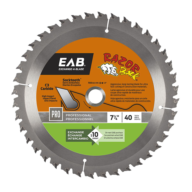 """Razor Back"" Saw Carbide Blade- 7 1/4"" - 40TH"