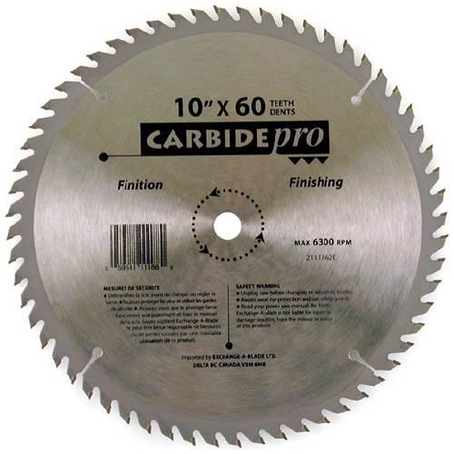 """Stay Sharp"" Finishing Carbide Blade - 10"" - 60TH"