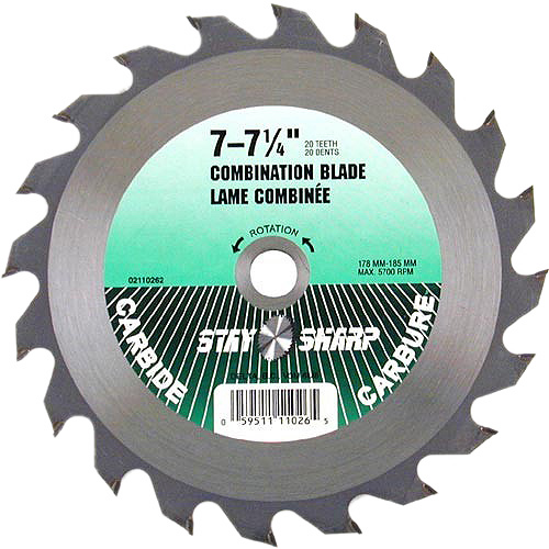 """Stay Sharp"" Combo Carbide Blade - 7 1/4"" - 20TH"